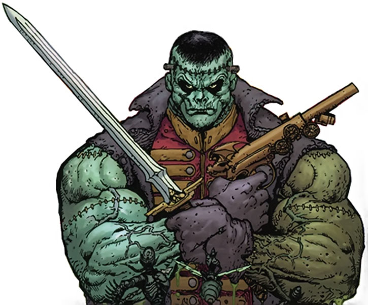 Frankenstein with his weapons