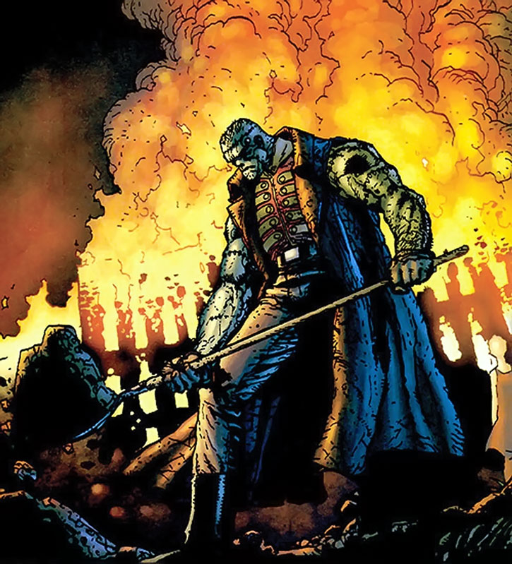 Frankenstein buries corpses while a building burns