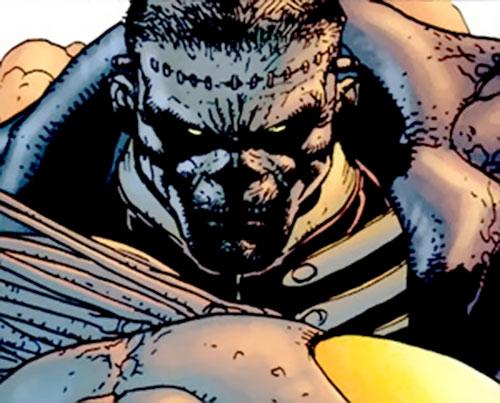 Frankenstein (7 Soldiers) (DC Comics) merciless face closeup
