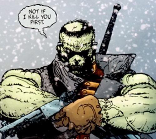 Frankenstein (7 Soldiers) (DC Comics) drawing his pistols