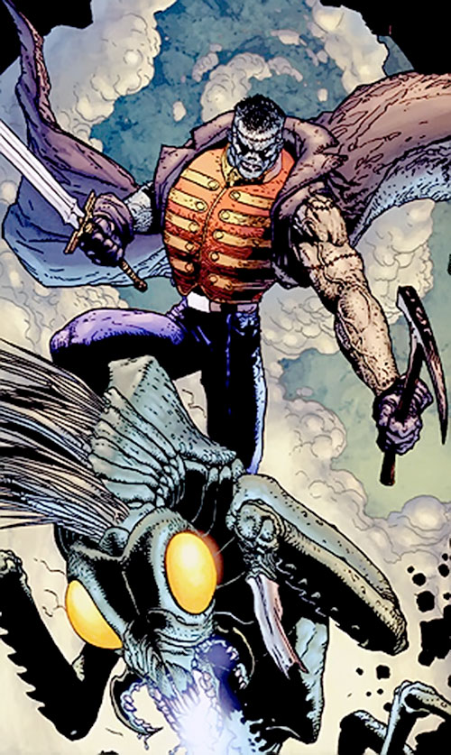 Frankenstein (7 Soldiers) (DC Comics) riding a Mars horse with a pick and a sword
