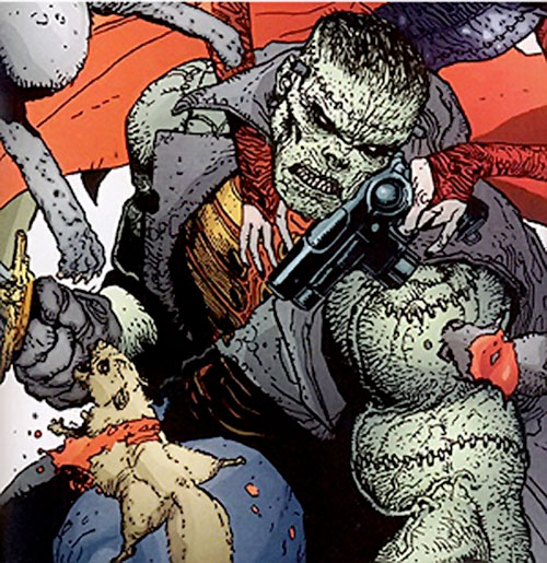 Frankenstein (7 Soldiers) (DC Comics) fighting waves of rodents