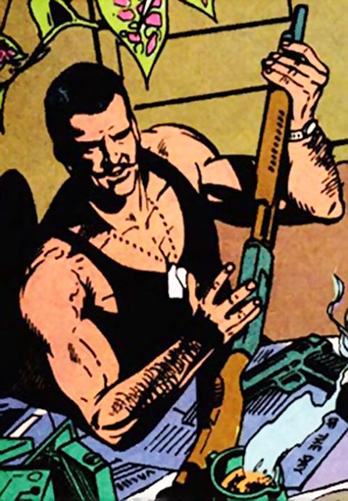 Frenchie Duchamp (Moon Knight ally) (Marvel Comics) loading a shotgun