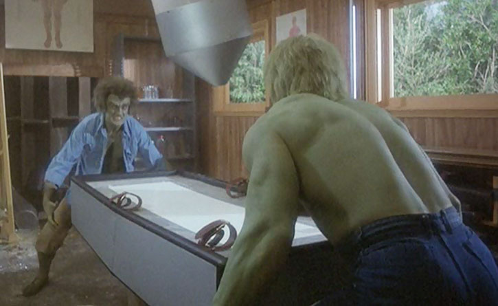 Dell's creature (Dick Durock) vs. the Incredible Hulk (Lou Ferrigno)