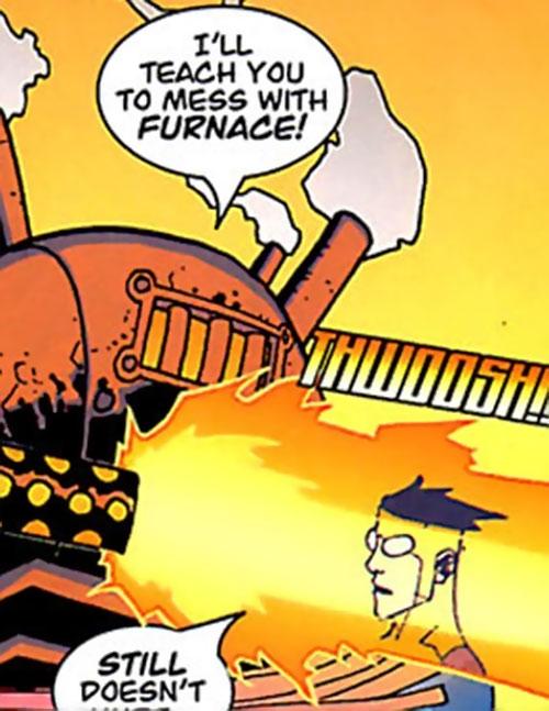 Furnace (Invincible Image Comics) ineffectually blasts Invincible