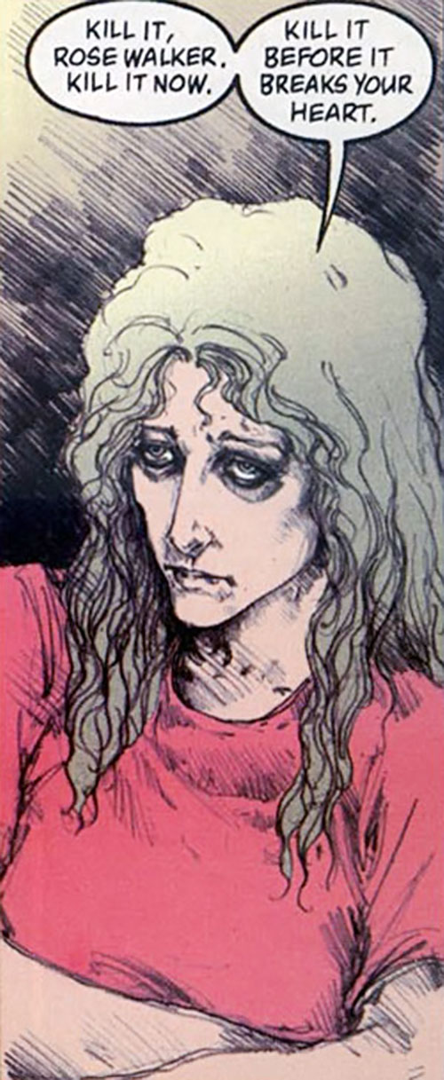 Fury (Lyta Hall in The Sandman) (DC Comics) looking depressed and crazy