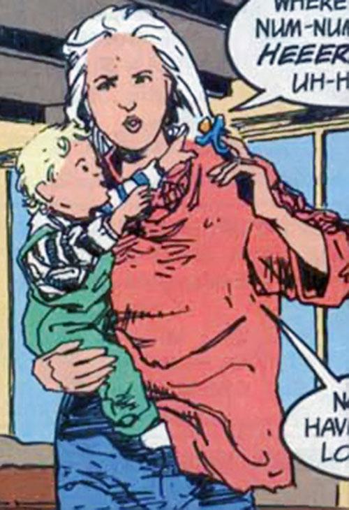 Fury (Lyta Hall in The Sandman) (DC Comics) with her baby Daniel