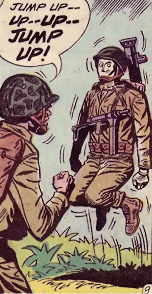 G.I. Robot Joe (DC Comics) jumps out of a pit