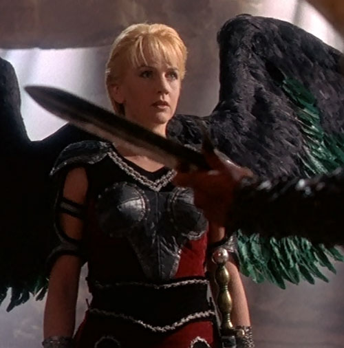 Gabrielle (Renee O'Connor in Xena) black and green wings