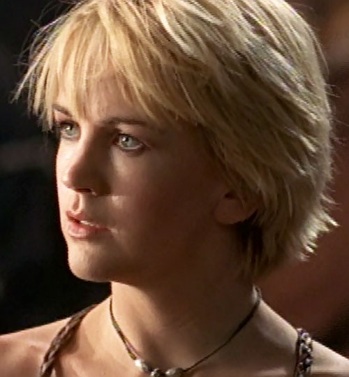 Gabrielle (Renee O'Connor in Xena) surprised face