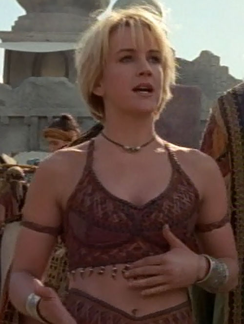 Gabrielle (Renee O'Connor in Xena) talking