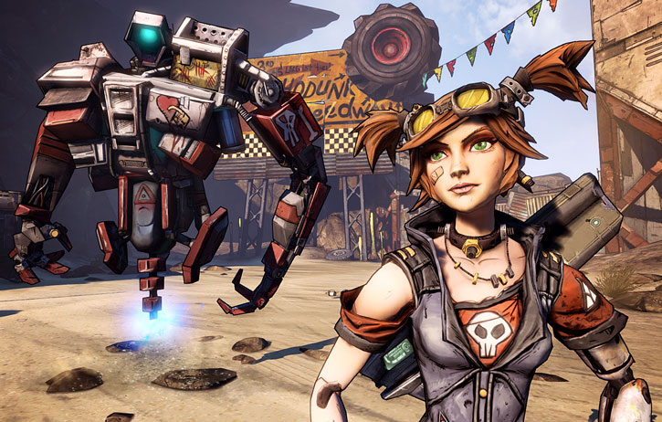 Gaige from Borderlands (Mechromancer) and Deathtrap on Pandora