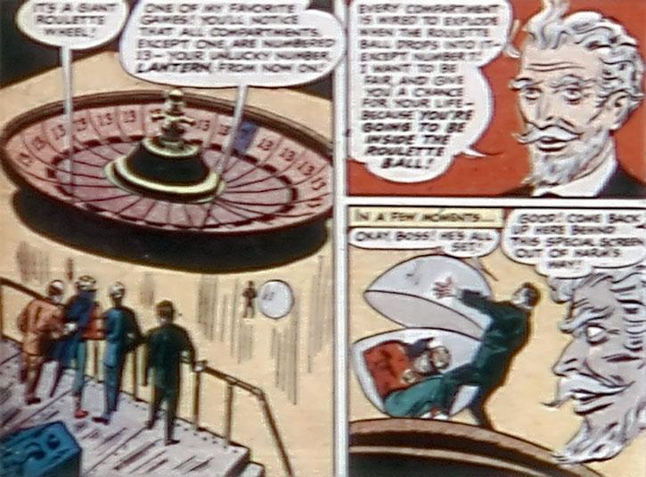 The Gambler puts Green Lantern (Alan Scott) in a roulette deathtrap