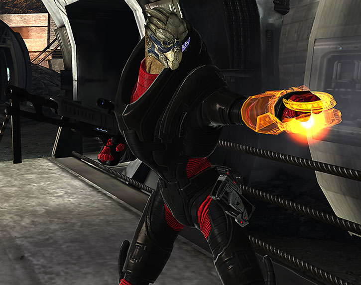 Garrus with a sniper rifle, using his omni-tool