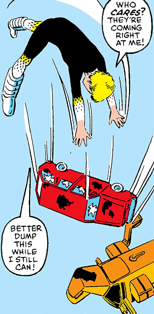 Gee of Power Pack (Marvel Comics) throwing a car