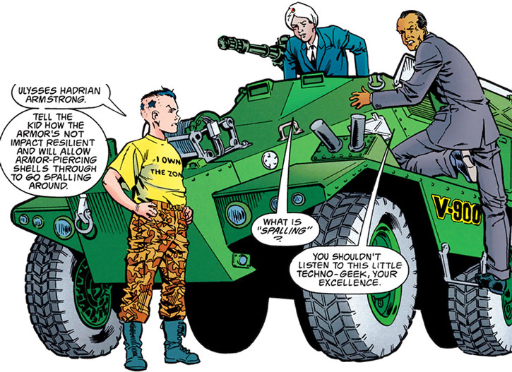 The General (Ulysses Armstrong) criticises a fighting armored vehicle