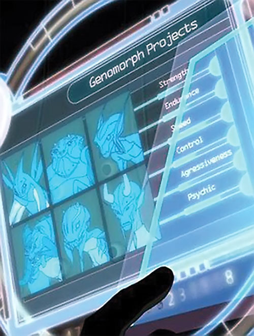 Genomorphs on Robin's wrist computer (Young Justice animated series)