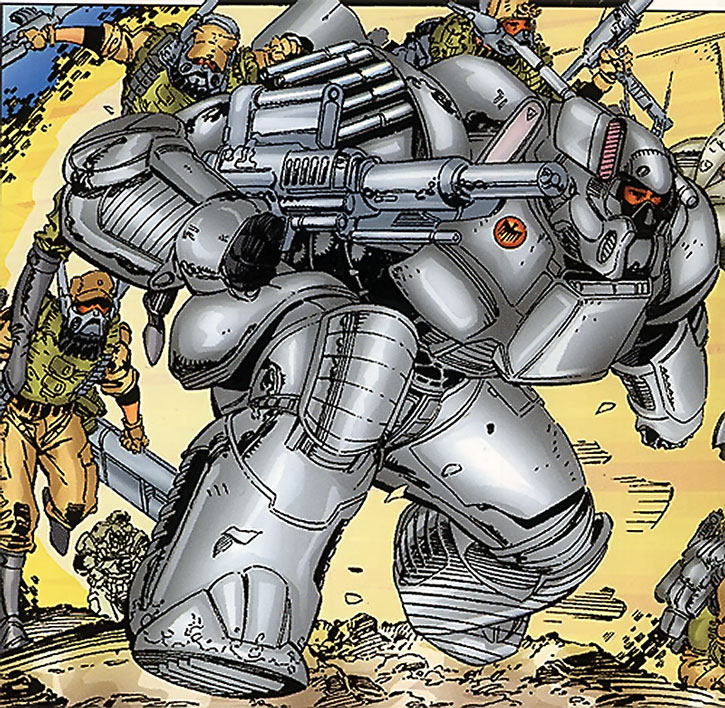 Genoshan heavy power armor and soldiers