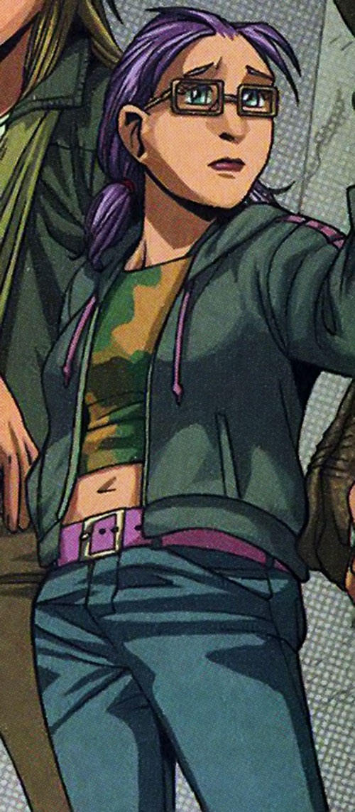 Arsenic (Gertrude Yorkes) of the Runaways (Marvel Comics) in jeans and a cammo tube top