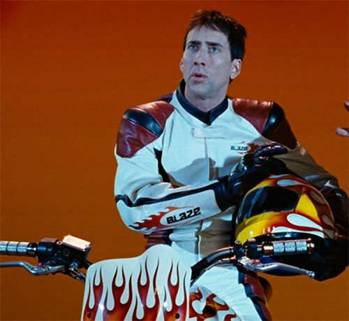 Nicholas Cage as Johnny Blaze (Ghost Rider) on his stunt bike