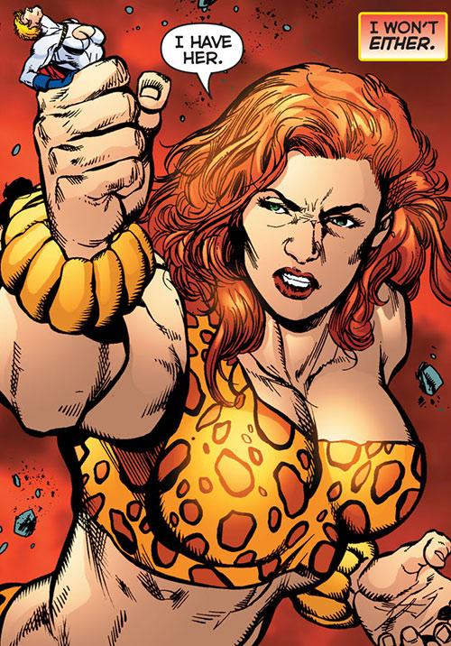 Giganta (Wonder Woman enemy) (DC Comics) catches Power Girl