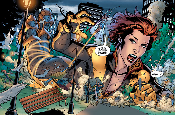 Giganta falls down in a city park