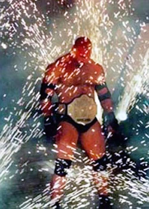 Goldberg amidst fireworks