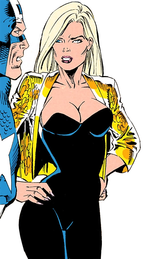 Golddigger (Marvel Comics) with her hands on her hips
