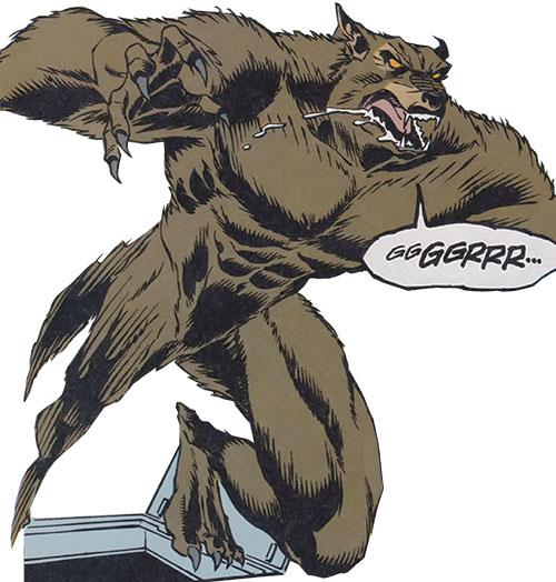 Werewolf springing from a trapdoor