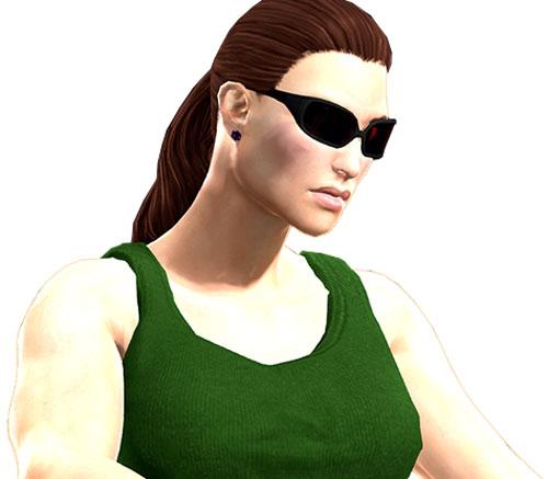 Gom Jabbar (DC Heroes RPG) closeup with green sleeveless top