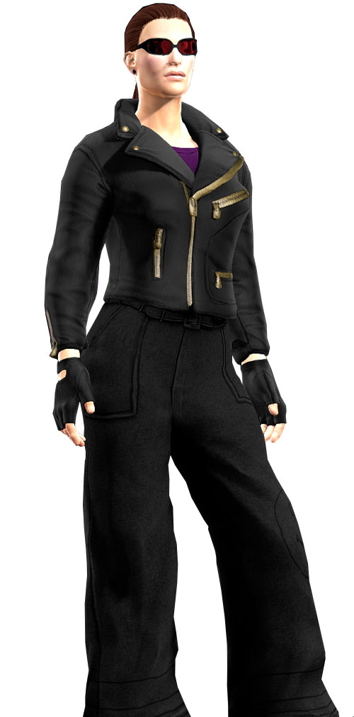Gom Jabbar (DC Heroes RPG) with leather jacket and wide trousers