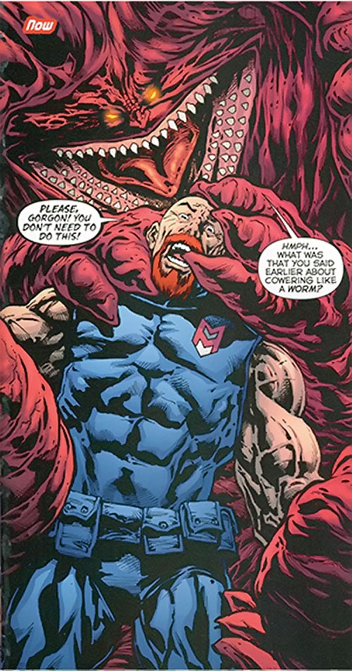 Gorgon of the Extremists (DC Comics) about to kill a super-hero