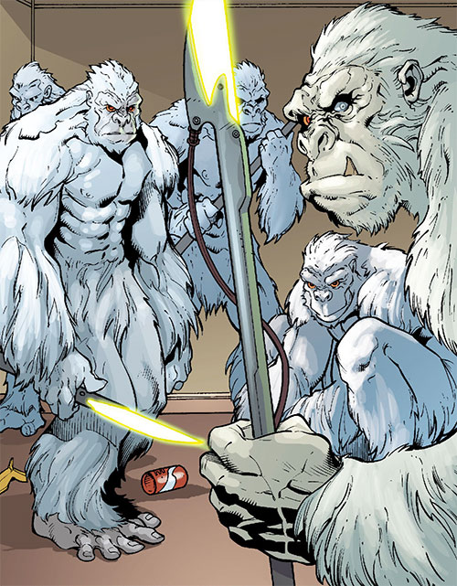 Gorilla Knights (Wonder Woman allies) (DC Comics) indoors with their weapons