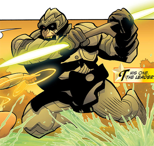Gorilla Knights (Wonder Woman allies) (DC Comics) charging with a laser spear