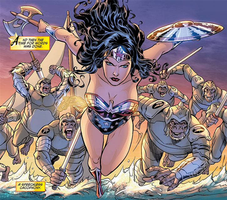 The Gorilla Knights charge behind Wonder Woman