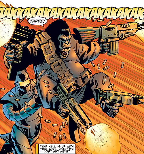 Gorilla-Man of the Agents of Atlas (Marvel Comics) quad-wielding assault guns