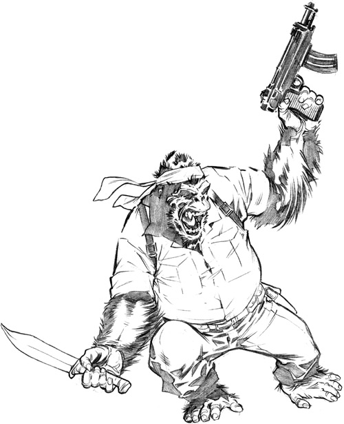 Gorilla Man of the Agents of Atlas (Marvel Comics) B&W sketch with headband and clothes