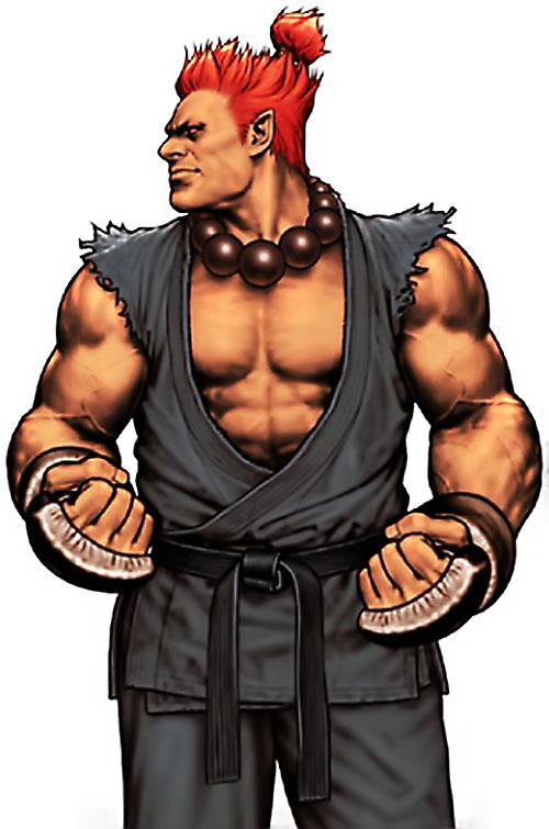 Gouki from Street Fighter video games flexing