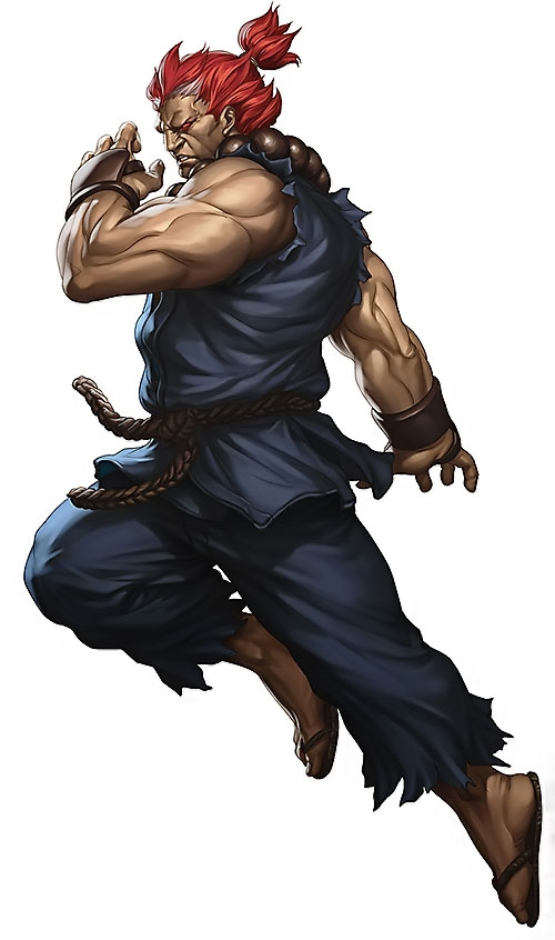 Gouki from Street Fighter video games in mid-leap