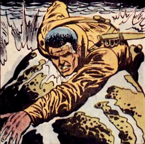 Gravedigger (Captain Ulysses Hazard) (DC Comics) grabs a rock in rapids