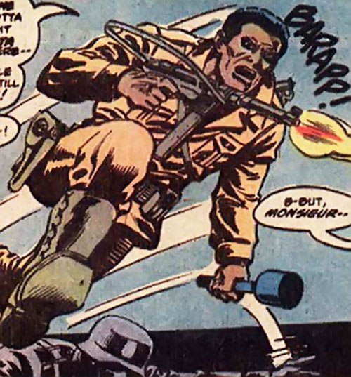 Gravedigger (Captain Ulysses Hazard) (DC Comics) charges with submachinegun and grenade