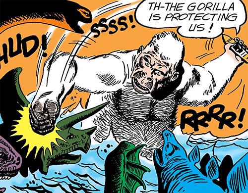 Great White Ape (War That Time Forgot) (DC Comics) fighting dinosaurs in a river