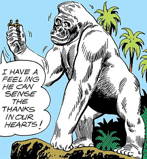 Great White Ape (War That Time Forgot) (DC Comics) next to a cliff