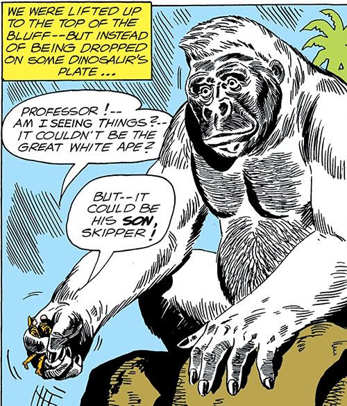 Great White Ape (War That Time Forgot) (DC Comics) lifts 2 soldiers