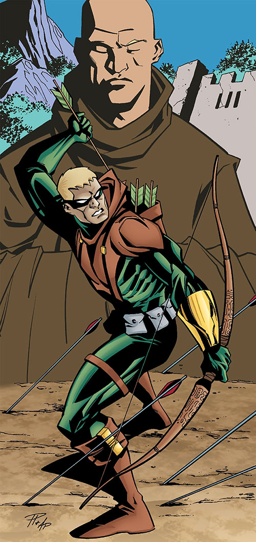 Connor Hawke as Green Arrow and as a monk