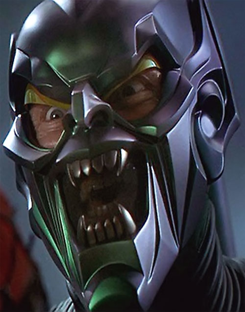 Green Goblin (Willem Dafoe in the Spider-Man movie) with mask partially opened