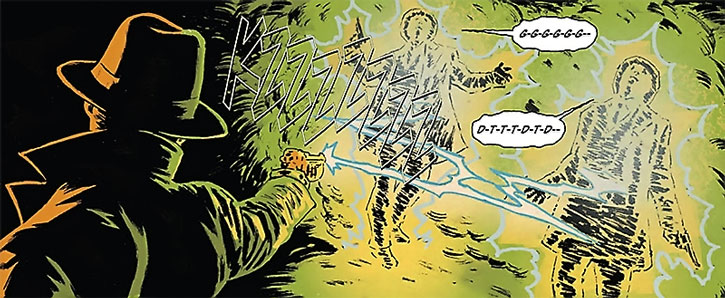 The Green Hornet (Britt Reid) electrocutes two enemies