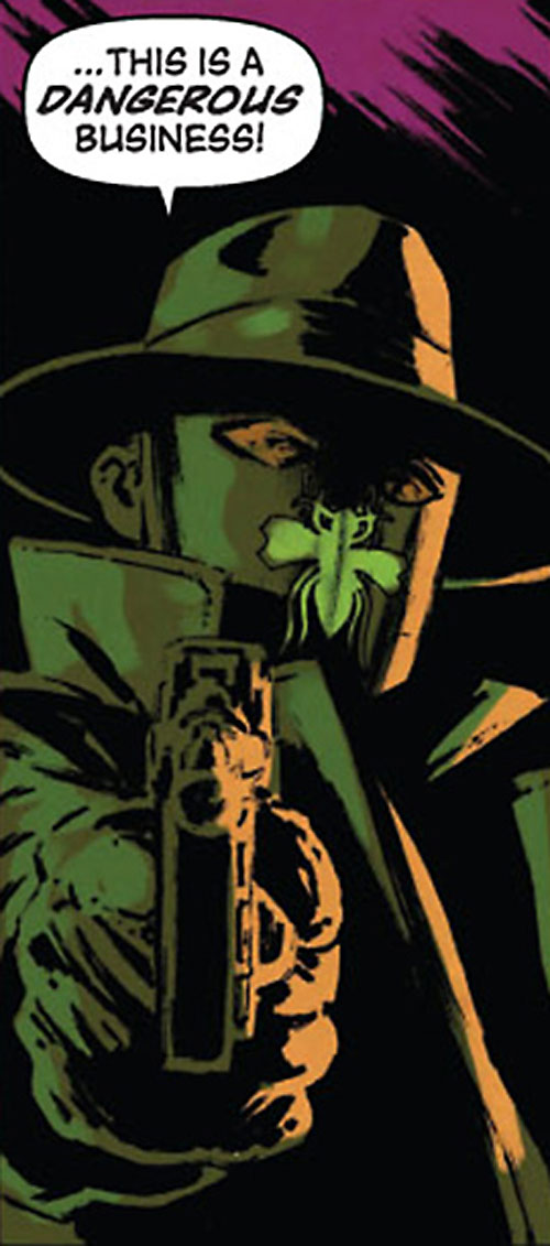 Green Hornet (Matt Wagner Dynamite Comics) pointing his pistol