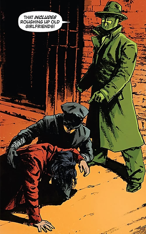 Green Hornet (Matt Wagner Dynamite Comics) with Kato and a beaten woman in an alley