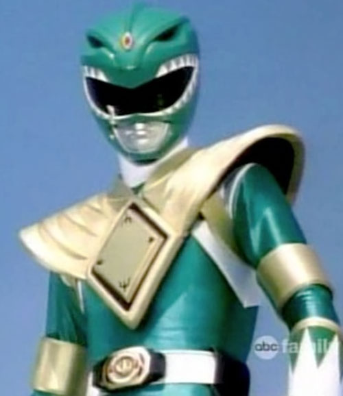 Green Ranger (Tommy Oliver) of the Mighty Morphin' Power Rangers blue background